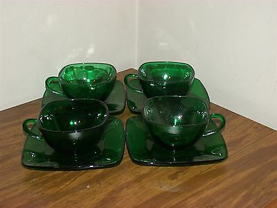 4 Sets Vintage Anchor Hocking Charm Forest Green Square Shaped Cups and Saucers