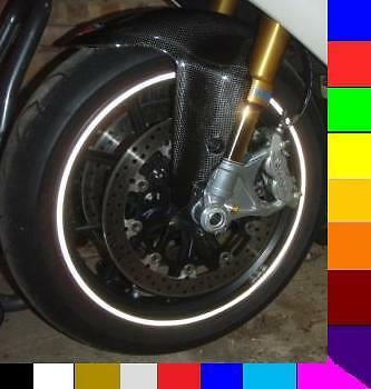 WHITE PEARL REFLECTIVE MOTORCYCLE or CAR RIM STRIPES WHEEL DECALS TAPE STICKERS