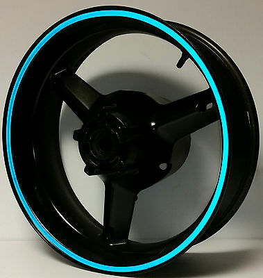 BLUE REFLECTIVE MOTORCYCLE or CAR WHEEL STRIPES RIM STICKERS TAPE DECALS 17 inch