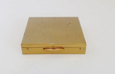 Brushed Goldtone Square Powder Compact Excellent Mirror Unused Puff Empty Clean