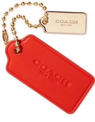 """COACH  Red Leather  Bag Hang Tag  Key Chain Fob  LARGE 3"""""""