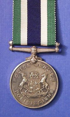 South Africa Police Good Service Medal Type 3 Silver Named                Ab0470