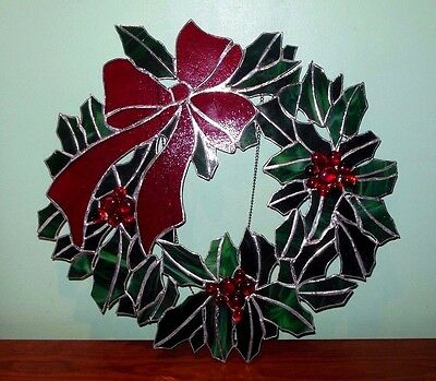 """Large 17"""" Vintage Stain Glass Holly Berry Christmas Wreath"""