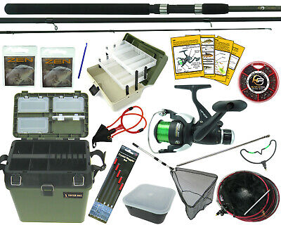 Complete Starter Coarse Float Fishing Kit Set. 10' Carbon Rod, Reel, Seat Box