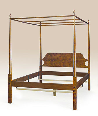 King Size Shaker Style Pencil Post Bed Frame Canopy Tiger Maple Wood Furniture