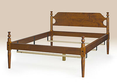 King Size Traditional Style Bed Frame Tiger Maple Wood American Made Handcrafted