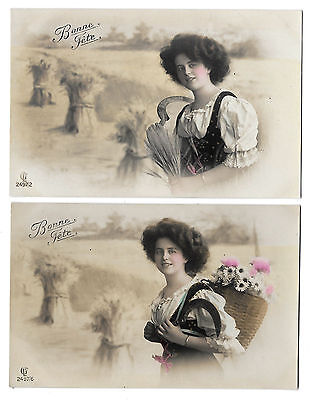 2 Cpa Bp02 Charme Moisson Champ Gerbe Ble Miss Faucille Pin-Up Hotte Marguerite