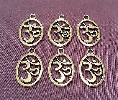 Wow - Bargain New Bulk Lot - 6 X Silver Plated Ohm Charms - Free Post