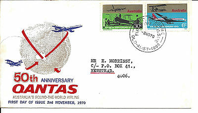 1970 50TH Anniversary QANTAS FDC 30c 6c First Day Issue