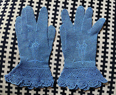 Vintage Hand Made Victorian Crochet Lace Pattern Gloves