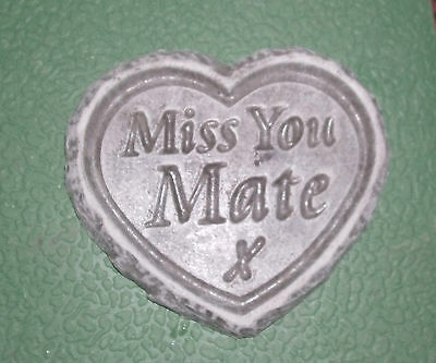 Rustic Edged Stone Memorial Heart Plaque For Mate Cemetery Ornaments