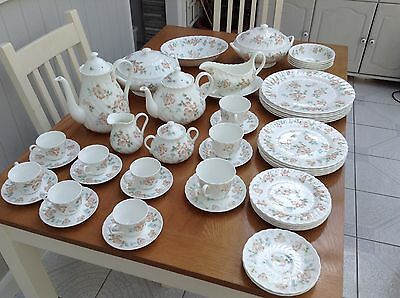 Wedgwood Cottage Rose Bone China Dinner Set, 51 piece vintage dinner service -