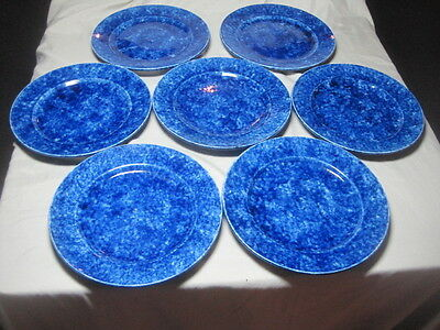 """Set of 7 Stangl Blue Caughley 9 3/4"""" Dinner Plates, Tiffany & Co."""