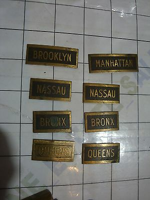 old antique 8x small embossed BRASS NAME PLATES New York City neighborhoods NYC