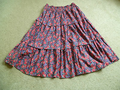 Vintage Laura Ashley Tiered Gypsy Skirt Elasticated Waist Size 12-14 Red Floral