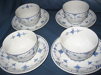 Vintage Denmark Furnivals Limited England Pottery 4 Rice/soup Bowls On Saucers