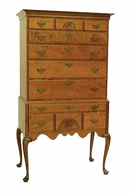 New England Style Highboy Tiger Maple Wood Queen Anne Bedroom Furniture Quality