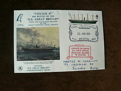 1970 Official SS Great Britain Commemorative Cover, Carried on Board, Falkland