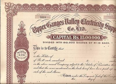 1920s? India share certificate: Upper Ganges Valley Electric Supply Co Ltd
