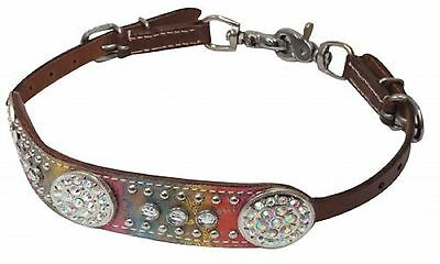 BLING on Colorful Metallic Western Leather WITHER STRAP Breast Collar Horse Tack