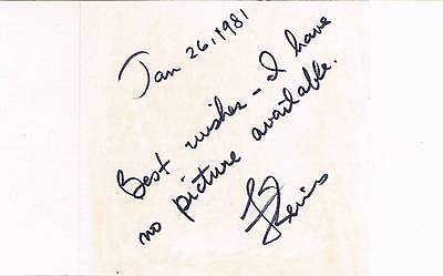 """Frederick Reines 1918-98 genuine autograph signed 3""""x5"""" card Nobel Prize Physics"""