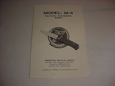 ATS American Tactical Supply M-4  Automatic Knife Rare Product Brochure