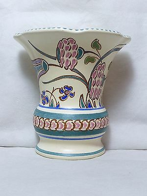 Honiton Pottery Wall Pocket Vase  Flatback Vase Devon Pottery