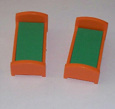 Two Twin Beds for #952 Little People Fisher Price Orange