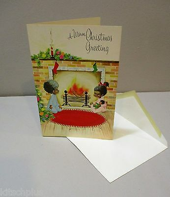 Vtg Christmas Card African American Family Christmas Tree Living Room 70s  Mod