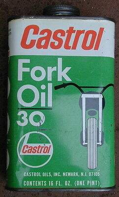Old Original Castrol Fork Oil Motor Oil Company Metal Oil Can 1950's Very Rare