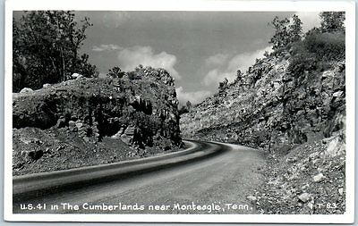 """Monteagle, Tennessee RPPC Photo Postcard """"In the Cumberlands"""" Road Scene 1956"""
