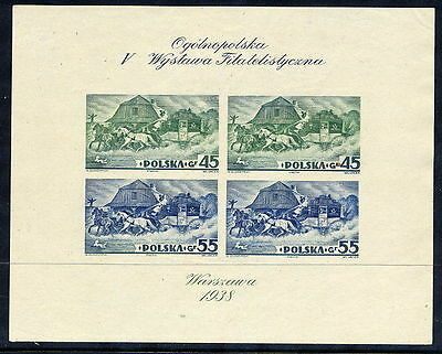 POLAND 1938 Warsaw Exhibition imperforate block MNH / **