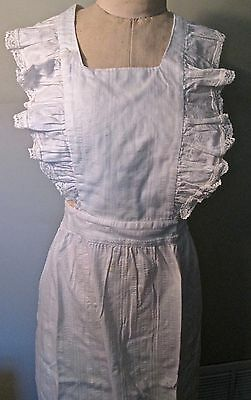 vintage full bib apron, full length, white seersucker w lace by Now Designs SF