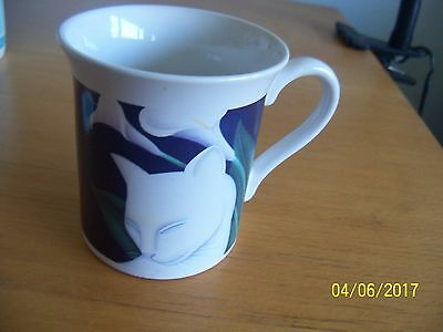 vintage japan cat coffee cup mug white kitty calla lily flower 1987 hallmark