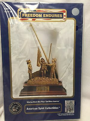 """9-11 Firefighters Freedom Endures Wind Up Music Box Plays """"God Bless America"""""""