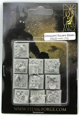 Titan Forge TTFB20 Graveyard (10) 20mm Square Bases Cemetery Tombstones Ruins
