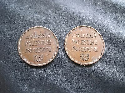 1942 & 1943 Palestine 1 One Mill Copper Coins
