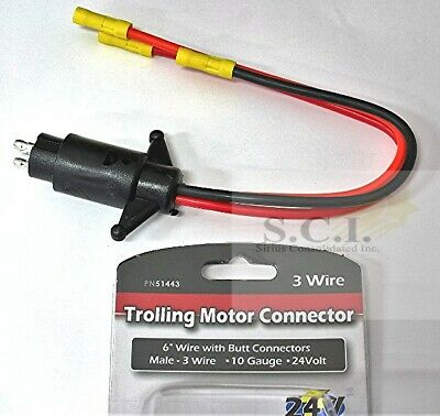 Boater Sports Trolling Motor Connector 24 Volt 3 Wire Male 10 Guage