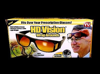 """NEW sealed """"HD VISION WRAP AROUNDS"""" glasses AS SEEN ON TV 100% UV protection NIB"""