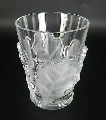 Lalique Glas Becher Serie Oak Leaf signiert France Crystal Glass Tumbler Vase