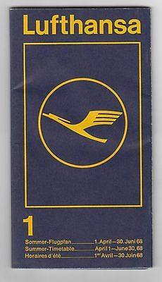 German Germany Carrier Airline LUFTHANSA Summer Timetable Booklet 1968