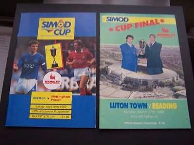 2 Simod Cup Final Programmes Everton V Notts Forest 1989 & Reading V Luton 1988