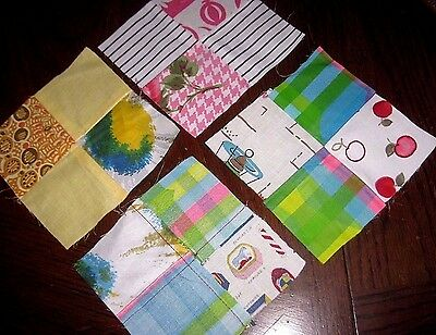 UNUSED Lot of Vintage 1950's / 1960's Cotton Quilt Blocks American Colorful