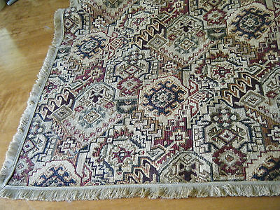 "OLD VTG Tablecloth Velvet Italian? TAPESTRY Deco style 40"" X54"" with Fringes"
