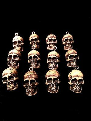 "1 Dozen Skull Beads 1"" Skeleton 12 Cast Powdered Bone Wicca Goth Day of Dead #B"