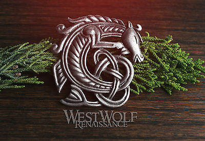 Viking or Celtic Sea-Horse Brooch -- Norse/Knotted/Seahorse/Silver/Jewelry/Pin