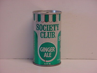 Vintage Society Club Ginger Ale Straight Steel Pull Tab Bottom Opened Soda Can
