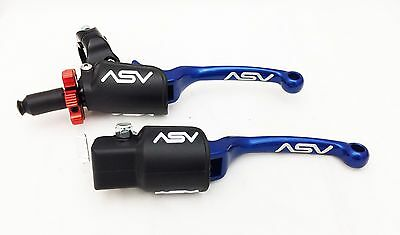 ASV F3 Pro Pack Blue Unbreakable Folding Brake + Clutch Levers TRX LTZ LTR KFX