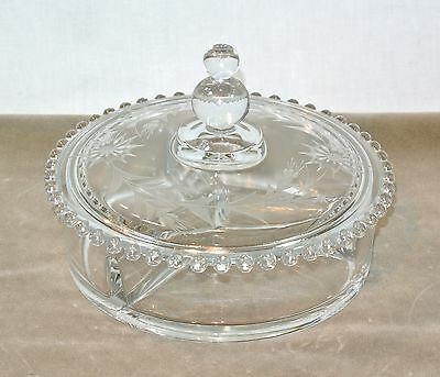 IMPERIAL Glass CANDLEWICK 3-Part CANDY BOX with Fancy Etching 400/110