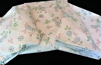 Vintage Utica J P Stevens Full Flat Fitted Pr Pillowcases Floral Blue Pink Green